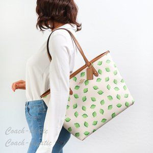 NWT Coach Reversible City Tote with Lime Print
